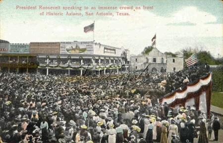 1905 PostcardTheodoreRooseveltSpeechAtTheAlamo